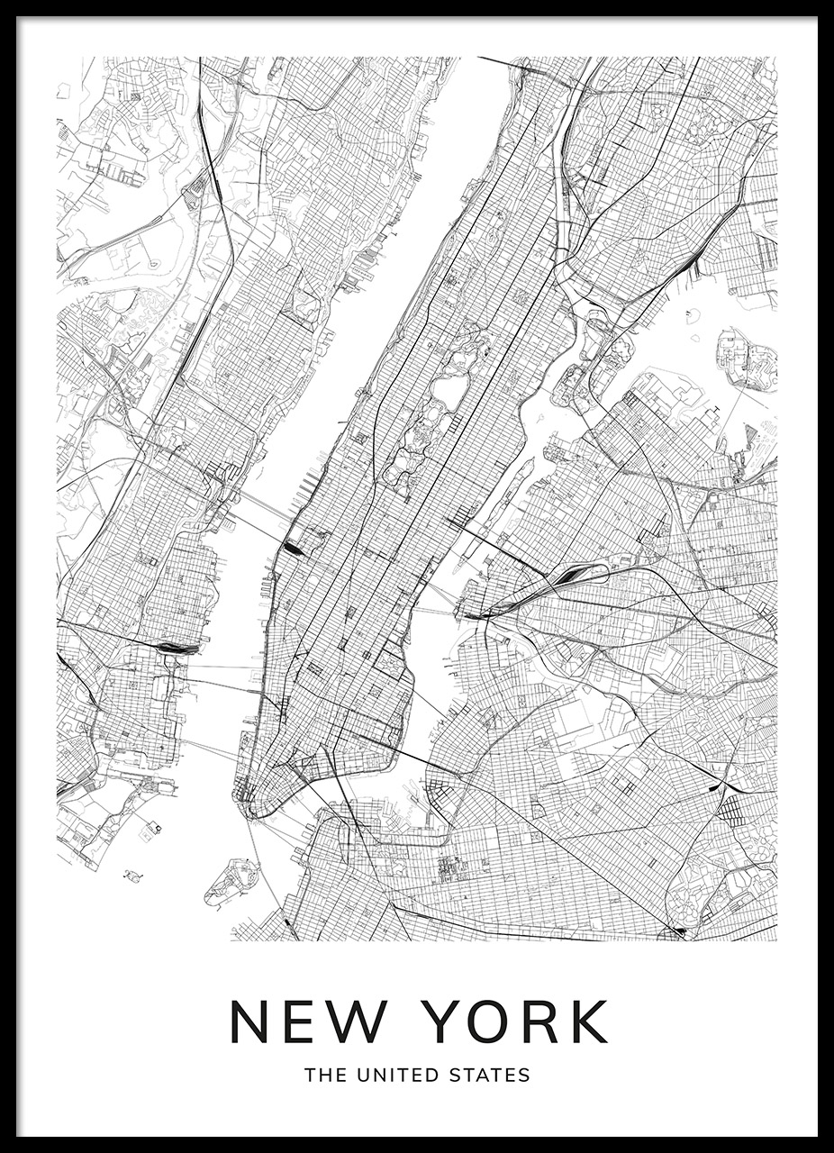 Map Of New York Poster.New York Map Poster